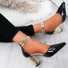 WOMENS LADIES TWO TONE COLOR POINTED PUMPS HIGH BLOCK HEEL GOLD SHOES SIZE