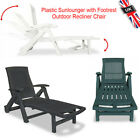 Sunlounger With Footrest Plastic Outdoor Recliner Chair White Green Anthracite