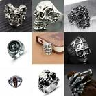 Fashion Men Gothic Silver Claw Skull Stainless Steel Biker Finger Ring Jewelry