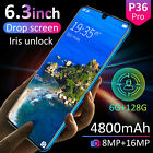 """6.3"""" P36 Pro Android 9.1 Smart Mobile Phone 6gb+128gb Face Id Unlocked 4800mah"""