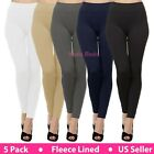 5 Pack Women Winter Warm Fleece Lined Thermal Leggings with Front Seam