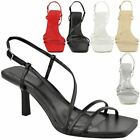 Womens Ladies Low Kitten Heels Open Toe Strappy Sandals Party Wedding Shoes Size