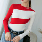 Thermal Autumn Women Pullover Jumper Slim Knitted Sweater Color Block Top Blouse