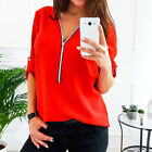 Women Casual Long Sleeve V-Neck Loose Long Chiffon Blouse T-Shirt Top Shirt
