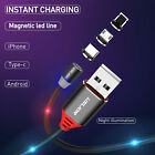 USLION 1M Magnetic Data Cable&3 in 1 Type C Micro USB Fast Charger For Phone HTC