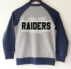 Oakland Raiders -  Kid Boys Raglan Zip Thin Bomber Gray & Blue US Size 4-6 $19.94 USD on eBay