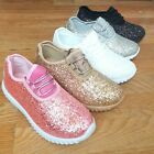 Big Kids Girls Tennis Shoes Glitter Sparkly Joggers Size 10 4 Sneakers