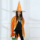 Kids Halloween Party Costume Wizard Cape Cloak Hat Cosplay Cloaks Robe Wand 3PC
