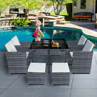 9 Piece 8 Seater Rattan Garden Cube Set Chairs Table Outdoor Patio Furniture Uk