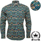Relco Mens Blue Floral Long Sleeve Shirt Button Down Collar Mod Retro NEW