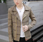 Mens Korean Lapel Wool Blend Waistcoat Slim Fit Fashion Wool Jacket Tops Outwear