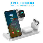 US 4IN1 Qi Wireless Charger Dock Stand For Apple iWatch AirPod iPhone 12 Pro 11