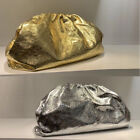 Metallic Real Leather Ruched Clutch Pouch Shoulder Purse Crossbody Evening Party