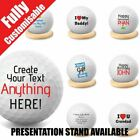 Personalised Golf Ball Grandad Father's Day Wedding Custom Text + Stand Option