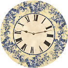 Floral Blue Toile Wall Clock