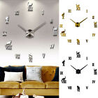 Round Fashion DIY Bedroom Wall Clock Living Room Gift 3D Mirror Large Display