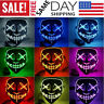 Halloween LED Glow Mask 3 Modes EL Wire Light Up The Purge Movie Costume Partys