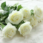 10Heads Real Touch Latex Rose Flower Bridal Wedding Bouquet Home Office Decor
