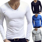 Men's V Neck Long Sleeve T-Shirt Slim Fit Casual Solid Color Basic Tee Shirts image