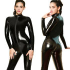 Women Wetlook 2-Way Zipper Latex Nightclub Catsuit Bodysuit PVC Leather Jumpsuit