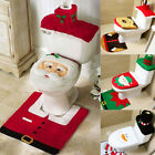 Christmas Happy Toilet Seat & Cover & Rug Bathroom Mat Xmas Home Decoration Set