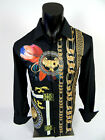 Mens Casual Shirt Black Gold Chains Floral Animal Silky Stretch Button Up