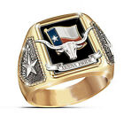 Texas Pride 18k Yellow Gold Plated Band Ring Women Men Wedding Party Jewelry