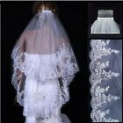 Bridal Wedding Veil Elbow 2 Layer Ivory Lace Edge Applique Sequin with Comb Chic