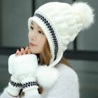 Womens Knitted Hat Gloves Set Winter Warm Thicken Crochet Beanie Cap Xmas Gifts