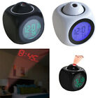 Multi-Function LED Wall Projector Alarm Clock Digital Voice Temperature Display