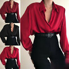 US Women Ladies Sexy V-Neck Long Sleeve Satin Loose Blouse Casual Shirt Top S-XL