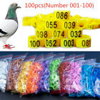 100pcs Bird Rings Leg Bands For Pigeon Parrot Poultry Clip Rings Number 001-100