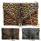 Leopard Large Envelope Clutch Crossbody Bag Fashion Animal Print Evening Purse