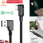 MCDODO 90 Degree Elbow QC4.0 3.0 Fast Charging Braided Type C USB Charger Cable