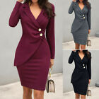 Women Solid Turn Down Neck Long Sleeve Buttons Bodycon Office Work Formal Dress
