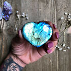 Natural Labradorite Quartz Crystal Heart Polished Moonstone Healing Specimens
