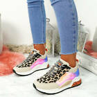 NEW WOMENS LACE UP LEOPARD CHUNKY TRAINERS LADIES HEELED SNEAKERS PARTY SHOES