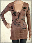 Salvage Hartepool Snake Skulls Rhinestones Women Long Sleeve V Shirt Brown XS-L