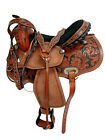 USED LEATHER WESTERN FLORAL HORSE SADDLE CARVED PAINTED STUDDED BARREL RACING