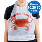 Royal Disposable Adult Size Poly Crab Bibs with tie, Lightweight High Quality
