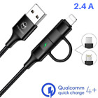 Mcdodo 2 in1 Cable Braided Lightning Type-C Fast Charger Cord For iPhone Samsung
