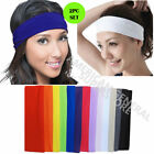 2pc HEADBAND Stretch Sports Yoga Gym Black Hair Band Wrap Sweatband Womens Mens