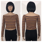 New Womens No Comment Long Sleeve Striped Crop Top Gold Yellow Size M L XL