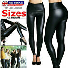 Ladies High Waist Leather Leggings Black Faux Shiny Wet Look Stretchy Tight Pant