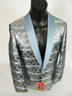 Mens INSOMNIA MANZINI Entertainer Event Jacket Blazer Blue Silver Snake Prints