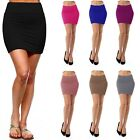 Womens Pencil Mini Skirt Stretch Mid Waist Basic Bodycon Rayon Casual S ~ XL