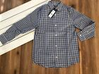 Vineyard Vines Boys Gingham Button Down Whale Shirt - Long Sleeve - Navy - NWT