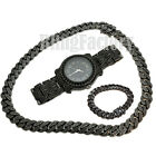 "Hip Hop Iced Black Watch & 18"" Miami Cuban Box Lock Choker Chain & Bracelet Set image"