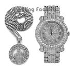 "Hip Hop Iced Silver PT Allah 24"" Cuban Chain Necklace & Fashion Bling Watch Set image"