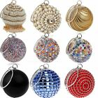 Ball Clutches Women Round Ball Crystal Evening Clutch Purse Tassel Wedding Party